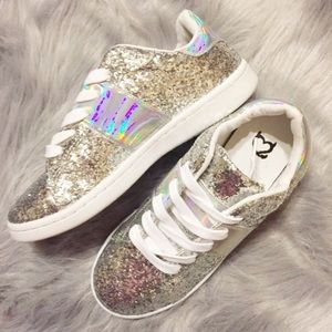 Shoes - Women's silver glitter and iridescent sneakers